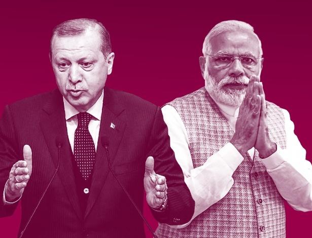 O presidente da Turquia, Recep Tayyip Erdogan (esq), e o premiê da Índia, Narendra Modi