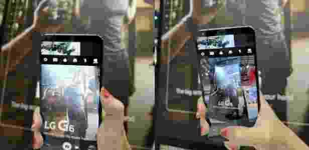 A diferença da câmera com lente grande angular do LG G6 (à dir.) com a câmera normal do aparelho - Lilian Barroso/UOL