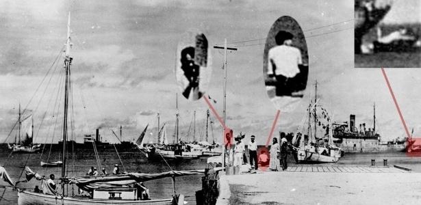 Da esquerda para a direita, os destaques na imagem mostrariam Fred Noonan, Amelia Earhart e a aeronave - CORTESIA DO LES KINNEY/US NATIONAL ARCHIVES