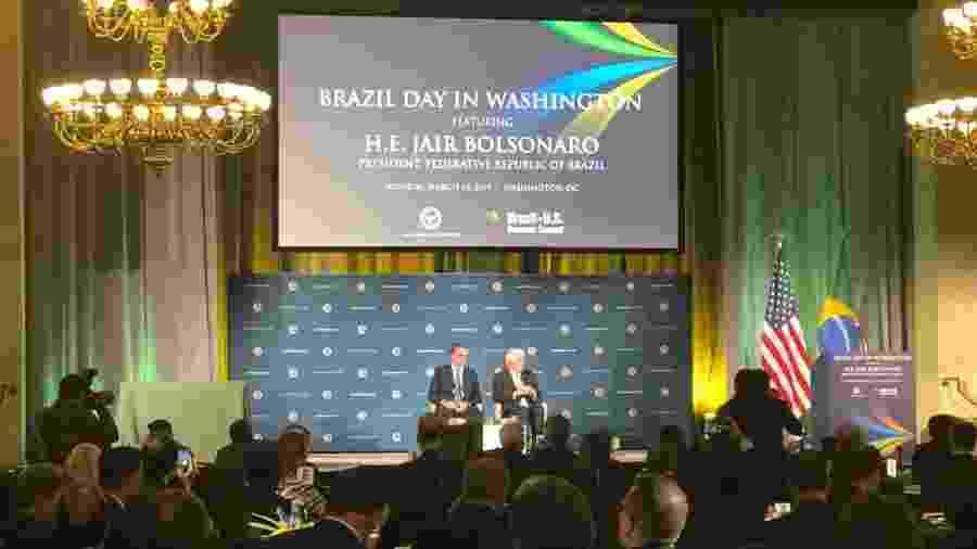 18.mar.2019 - O presidente Jair Bolsonaro participa do Dia do Brasil em Washington - Luciana Amaral/UOL