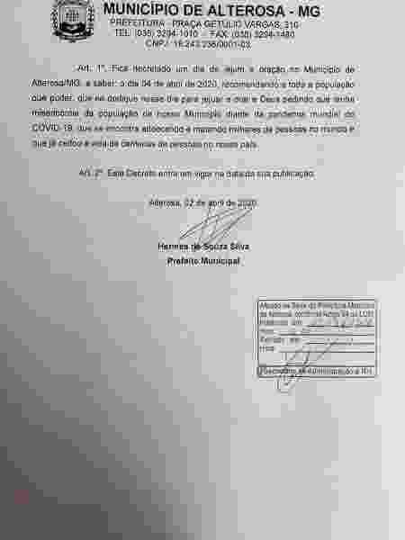 Decreto assinado pelo prefeito de Alterosa, em Minas Gerais - Reprodução