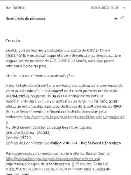 Mensagem enviada pela Capes a bolsista cobrando devolução de recursos em cotação do dólar de abril - Reprodução
