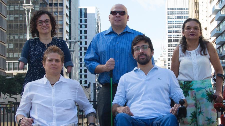 """Bruno Beraldin (na primeira fileira, à direita) e seus colegas do """"Todos pela Acessibilidade"""" vão disputar uma vaga para a Câmara Municipal de São Paulo - Divulgação/Dede Fedrizzi"""