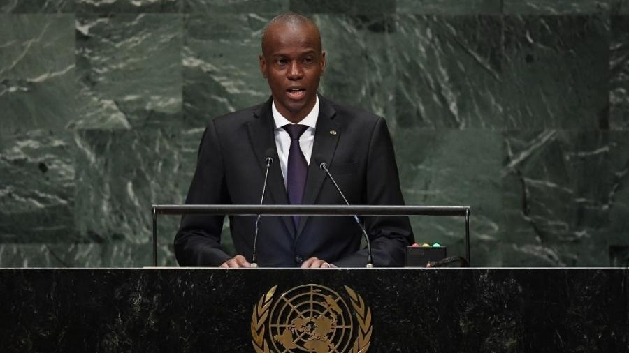 Jovenel Moise, então presidente do Haiti, durante Assembleia Geral da ONU em 2018 - TIMOTHY A. CLARY/AFP