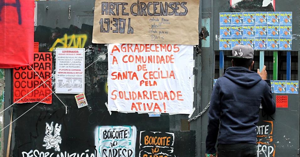 24.nov.2015 - E.E. Fidelino Figueiredo, na Vila Buarque em São Paulo, permanece ocupada por estudantes nesta terça-feira (24). A escola estadual foi ocupada na quinta-feira passada em protesto contra a reorganização escolar promovida pelo Governo do Estado de São Paulo