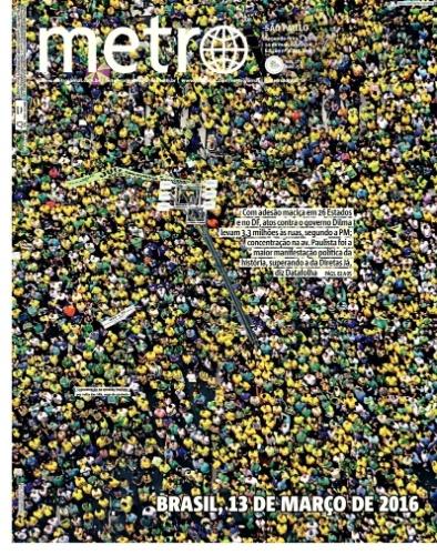 SP: Capa do jornal Metro de 14 de março de 2016
