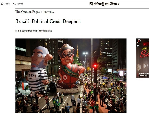 19.mar.2016 - Editorial do New york Times sobre política no Brasil
