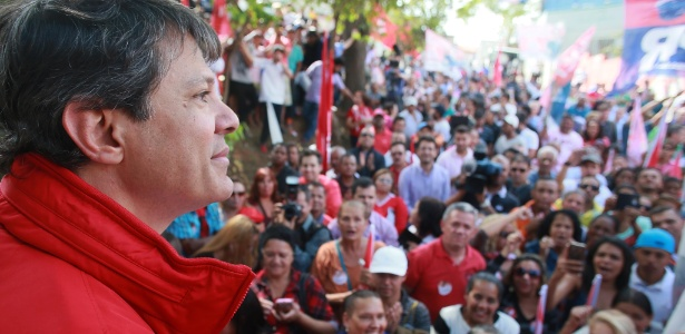 Fernando Haddad durante ato de campanha