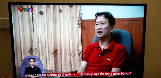 3.ago.2017 - Imagem de ex-executivo do petróleo Trinh Xuan Thanh é vista na TV estatal VTV em Hanói, Vietnã