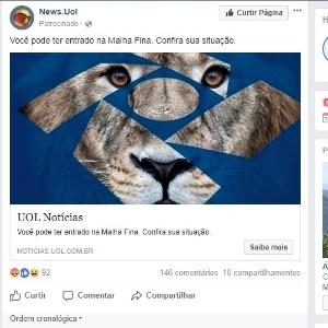 Postagem falsa no Facebook