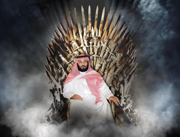 """Montagem com o o príncipe Muhammad bin Salman e cenário da série """"Game of Thrones"""""""