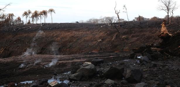Área afetada pelo lahar do vulcão de Fogo, em El Rodeo, na Guatemala