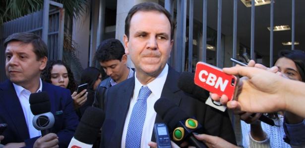 19.jun.2018 - O ex prefeito do Rio de Janeiro Eduardo Paes concede entrevista após prestar depoimento à Justiça Federal no Rio