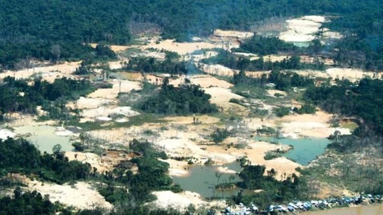 Danos provocados pelo garimpo ilegal na região do rio Uraricoera, na Terra Indígena Yanomami - Funai