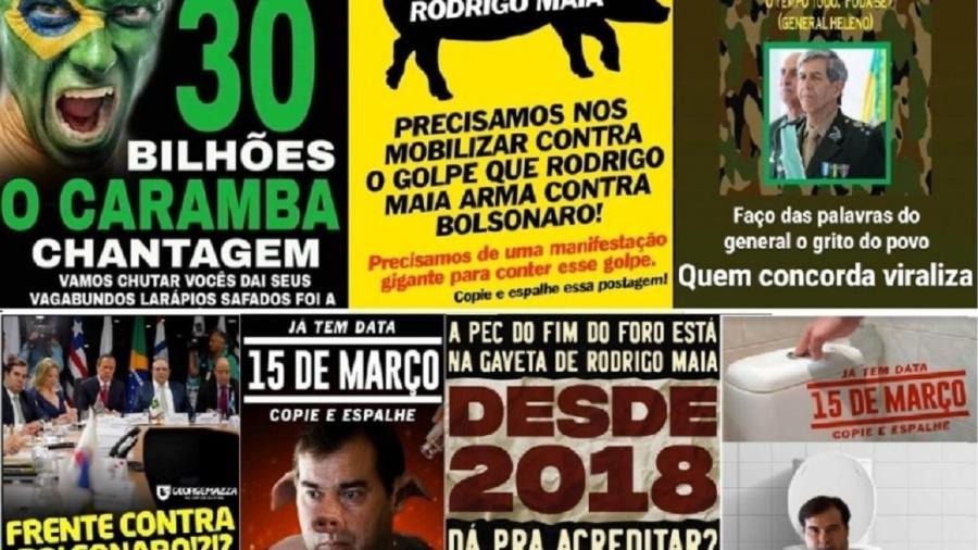 Material publicitário que ataca Congresso e convidava para ato em 15 de março - reprodução