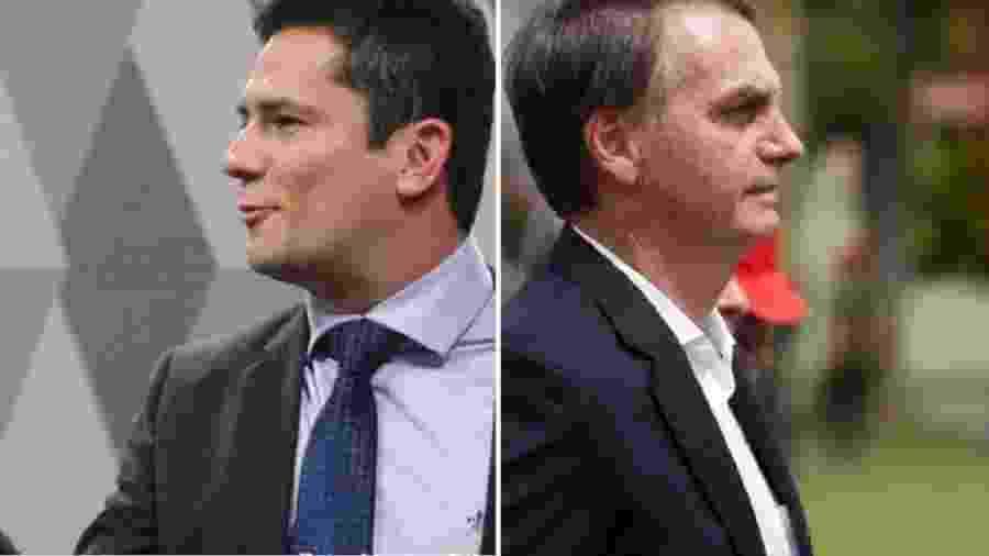 Sergio Moro e Jair Bolsonaro, agora de costas um para o outro, foram parceiros na obra de destruição de um país - Marcos Oliveira/Agência Senado; Fernando Frazão/Agência Brasil