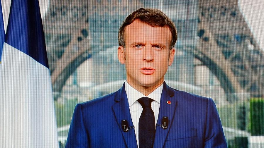 O presidente da França Emmanuel Macron; no sistema francês, líder eleito pelo povo divide poder com primeiro-ministro - Ludovic Marin/AFP