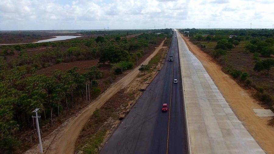 11.jan.2021 - Obras na Reta Tabajara, na rodovia BR-304, no Rio Grande do Norte - Divulgação/Dnit