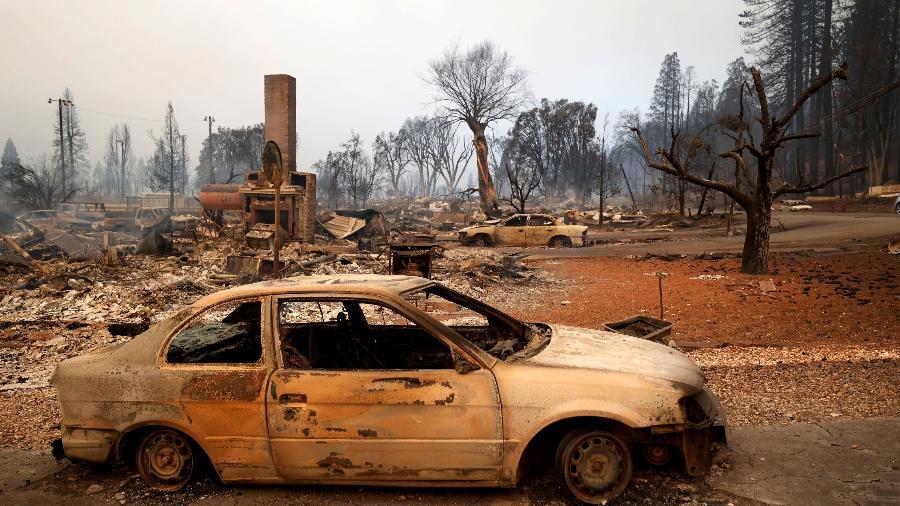 Área de Greenville destruída pelo incêndio Dixie Fire - Fred Greaves/Reuters
