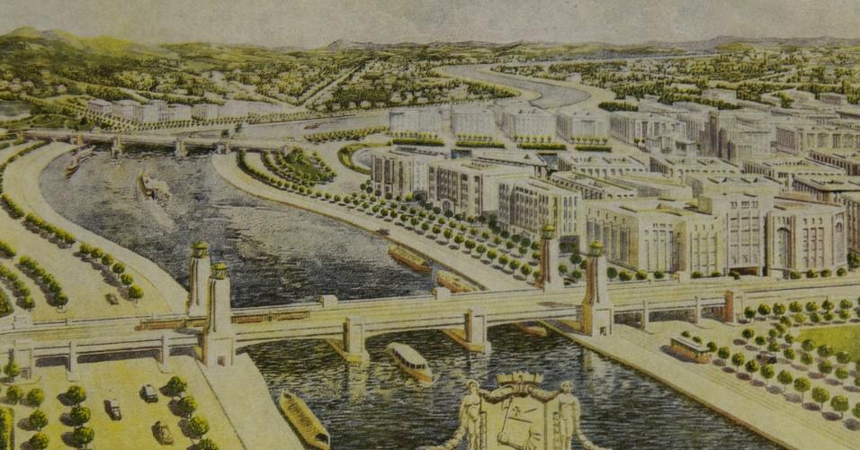 Rio Tietê no Plano de Avenidas, de Prestes Maia (1930)