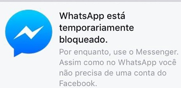 Messenger avisa usuários sobre o bloqueio do Whatsapp - Reprodução