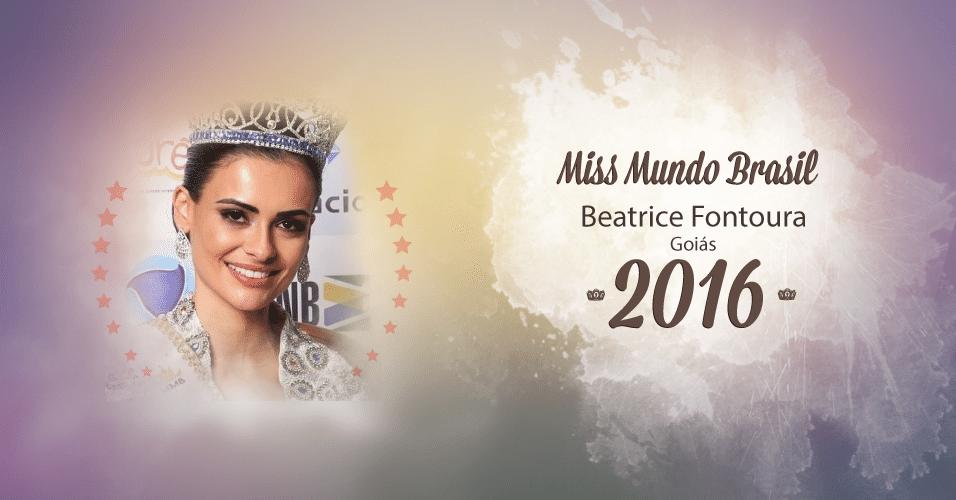 A goaiana Beatrice Fontoura representou Goiás e ficou com a coroa de Miss Mundo Brasil 2016, realizado em Florianópolis