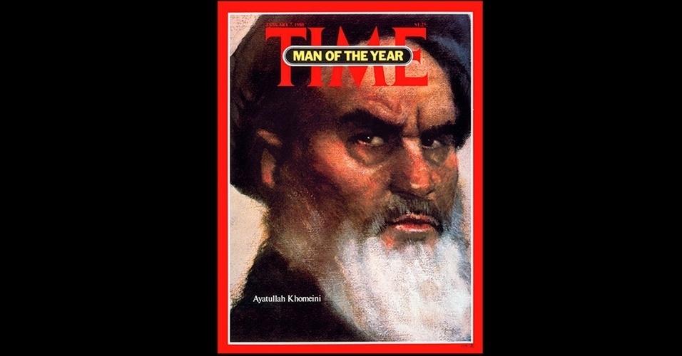 """Aiatolá Khomeini (1979) - O líder da Revolução Islâmica, que tomou o poder no Irã e expulsou o xá Rheza Pahlavi, apoiado pelos Estados Unidos, foi outra figura controversa a se tornar personalidade do ano da """"Time"""". Khomeini, que se tornaria Supremo Líder do Irã, se referiu aos Estados Unidos como o """"Grande Satã"""" durante a década seguinte"""