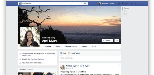 Conta memorial do Facebook - Reprodução