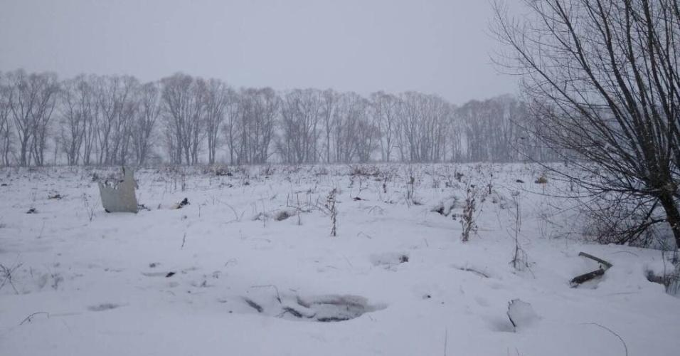 11.fev.2018 - A aeronave caiu no vilarejo de Argunovo, a cerca de 48 km do aeroporto de Domodedovo, em Moscou, de onde havia decolado menos de dez minutos antes. Imagens dos destroços mostraram que o avião caiu em um campo coberto de neve