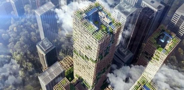 Projeto de arranha-céu de madeira que a empresa Sumitomo Forestry irá construir em Tóquio