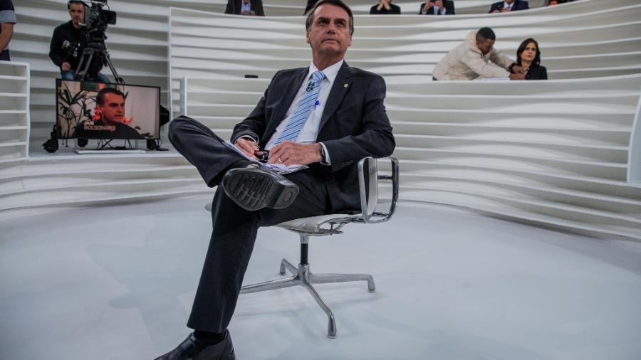 """Jair Bolsonaro, no estúdio do """"Roda Vida"""", segunda-feira - Eduardo Anizelli/Folhapress"""