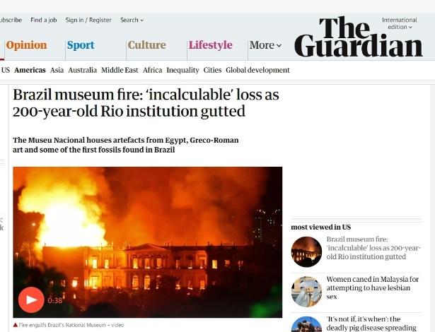 Britânico The Guardian repercute incêndio que destruiu o Museu Nacional - Reprodução/The Guardian