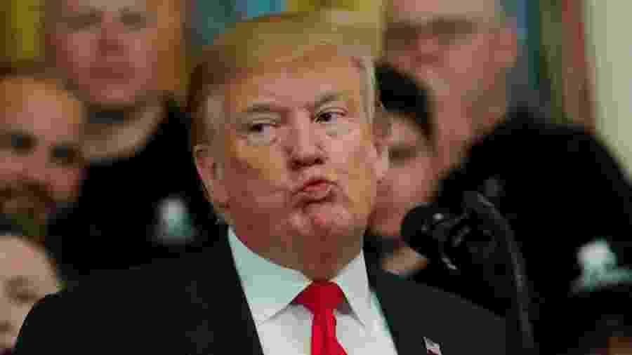 18.abr.2019 - O presidente dos EUA, Donald Trump, reage enquanto fala no evento Soldado Ride, do Wounded Warrior Project, após a divulgação do relatório do Conselheiro Especial, Robert Mueller - Carlos Barria/Reuters