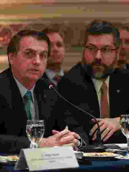 O presidente Jair Bolsonaro e o chanceler Ernesto Araújo --um dos principais líderes da ala ideológica do governo Bolsonaro - Marcos Corrêa/Presidência da República