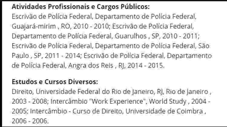 Cargo comissionado não aparece em seu currículo publicado no site da Câmara dos Deputados - Reprodução