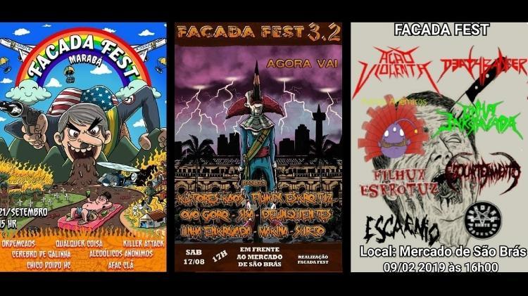 Cartazes das edições anteriores do Facada Fest - Reprodução - Reprodução
