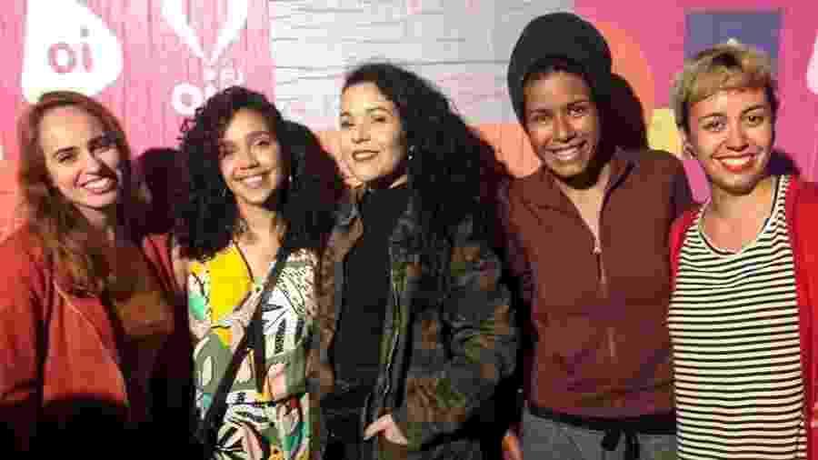 Luiza Salles (1ª à dir.) e outras podcasters da Podsim - Arquivo pessoal