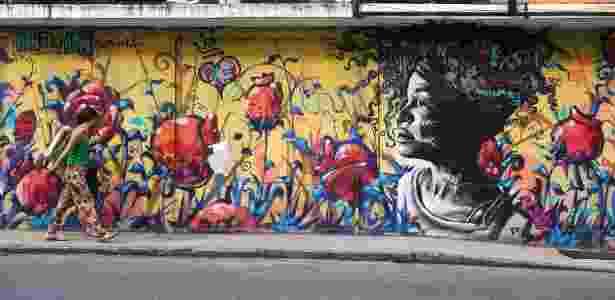 23.fev.2016 - Grafite do artista Marcelo Ment na esquina das ruas Sorocaba com Voluntarios da Patria, em Botafogo, na zona sul do Rio de Janeiro - Júlio César Guimarães/UOL - Júlio César Guimarães/UOL