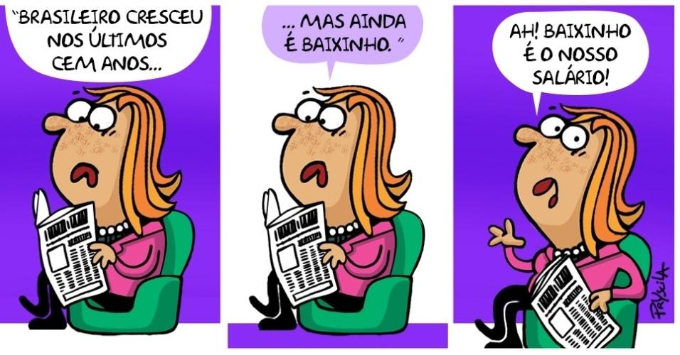 29.jul.2016 - Até o brasileiro cresce, mas o salário...