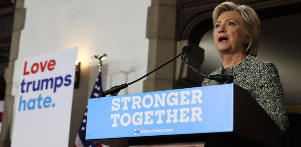 A candidata democrata Hillary Clinton discursa na Temple University, Filadélfia, na Pensilvânia, EUA