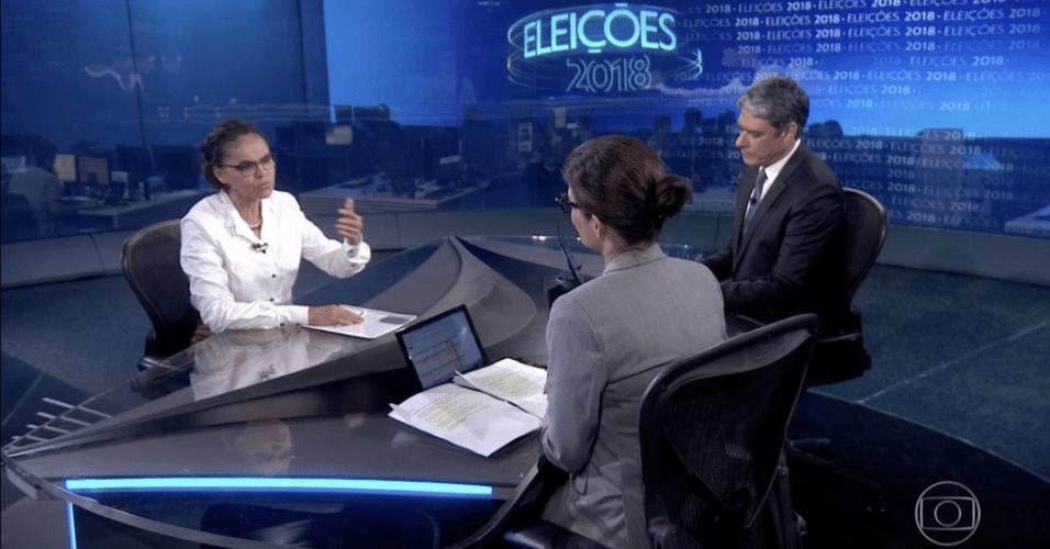 30.ago.2018 - Candidata à Presidência Marina Silva (Rede-AC) participa de entrevista no Jornal Nacional