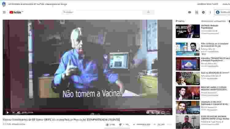 Vídeo brasileiro antivacina coloca trecho de vídeo de britânico; no detalhe superior à direita, outro vídeo contra vacina como próxima recomendação - BBC