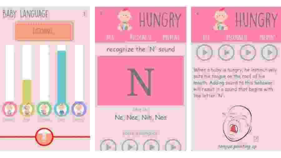 App Língua do Bebê, para Android - Reprodução