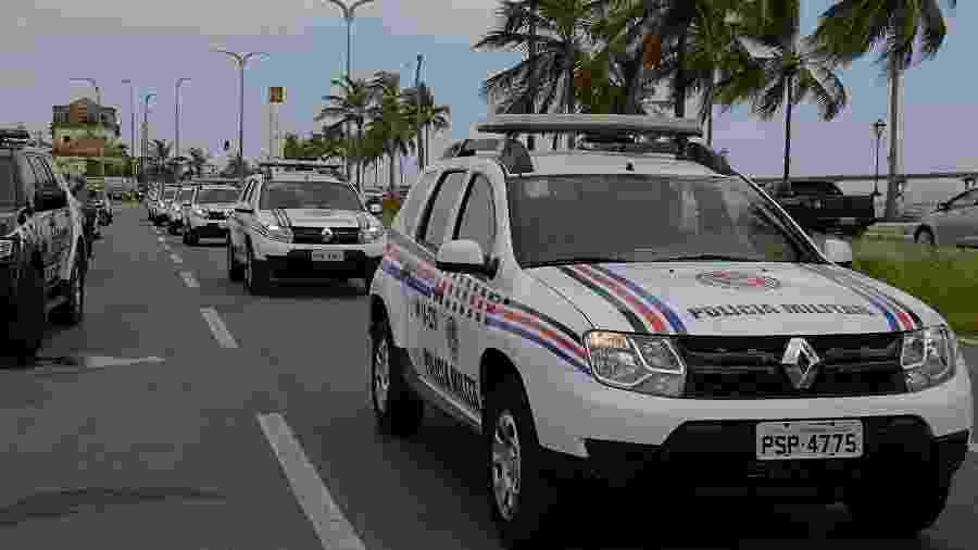 Veículos da frota da PM no Maranhão; carro conduzido por filho de coronel não tinha identificação da corporação - Karlos Geromy/Secap-MA