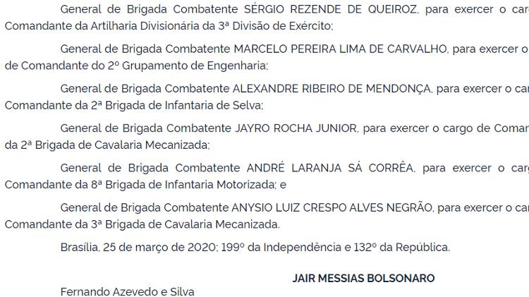 Nomeação feita por Bolsonaro no DOU na área da segurança - Reprodução - Reprodução