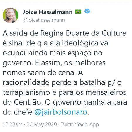 Post de Joice sobre saída de Regina Duarte - Reprodução/Twitter - Reprodução/Twitter