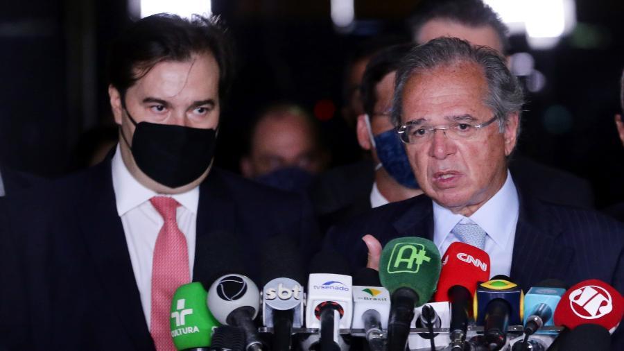 O presidente da Câmara, Rodrigo Maia (DEM-RJ), e o ministro da Economia, Paulo Guedes - Michel Jesus/Câmara dos Deputados