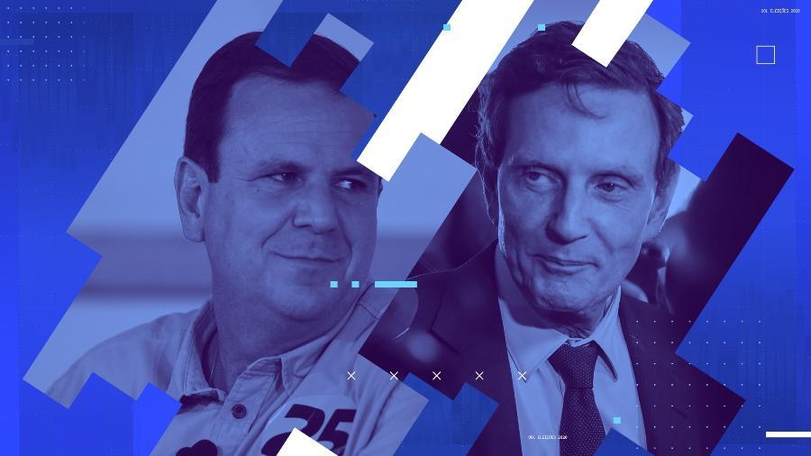Debate Rio com Eduardo Paes (DEM) e Marcelo Crivella (Republicanos) - Arte/UOL