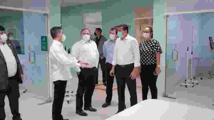O ministro Pazuello, em visita a Manaus, com o secretário da Saúde do estado, Marcellus Campêlo e o governador Wilson lima - Divulgação/Secom - Divulgação/Secom
