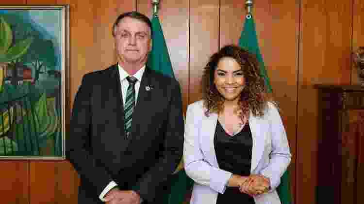 A Prefeita de Bauru, Suellen Rosim (Patriota), e o presidente da República, Jair Bolsonaro (sem partido), durante encontro em Brasília - Reprodução/Instagram - Reprodução/Instagram